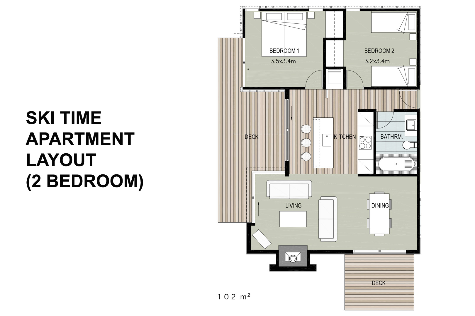 2 bedroom apartment layout – Ski Time Methven